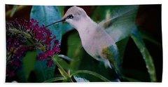 Flower And Hummingbird Beach Towel