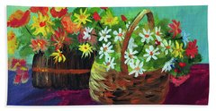 Flower Baskets Beach Towel