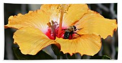 Flower Bee Beach Towel