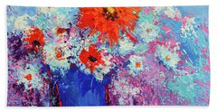 Flower Bouquet Modern Impressionistic Art Palette Knife Work Beach Towel
