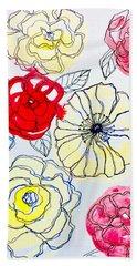 Flower Doodles Beach Towel
