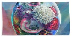 Flower Drop Blues Beach Towel by Robin Moline