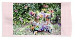 Flower Fairies In A Flower Mobile Beach Towel by Lise Winne