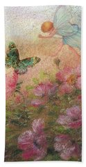 Flower Fairy Butterfly Roses Beach Towel