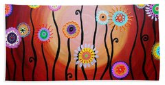 Beach Towel featuring the painting Flower Fest by Pristine Cartera Turkus