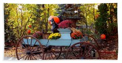 Flower Filled Wagon Beach Towel by Catherine Gagne