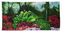 Beach Towel featuring the painting Flower Garden X by Michael Frank