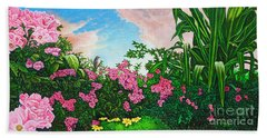 Beach Towel featuring the painting Flower Garden Xi by Michael Frank