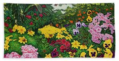 Beach Towel featuring the painting Flower Garden Xii by Michael Frank
