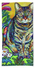 Beach Towel featuring the painting Flower Kitty by Robert Phelps