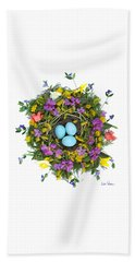 Beach Towel featuring the digital art Flower Nest by Lise Winne