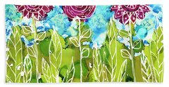Beach Towel featuring the painting Flower Power by Kathryn Riley Parker