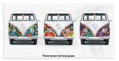 Flower Power Vw Beach Towel