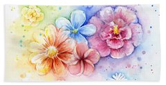 Flower Power Watercolor Beach Towel