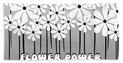 Flower Power - White  Beach Towel