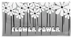 Flower Power - White  Beach Sheet