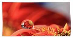 Flower Reflection In Water Drop Beach Towel
