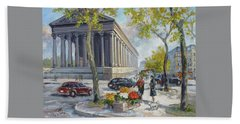 Flower Seller At La Madelaine, Paris Beach Towel