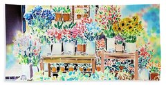 Flower Shop In Paris Beach Towel