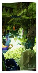 Beach Towel featuring the photograph Flower Stalls Market Chennai India by Mike Reid