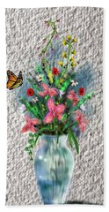 Beach Towel featuring the digital art Flower Study Three by Darren Cannell