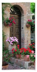Flowered Montechiello Door Beach Towel