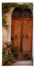 Flowered Tuscan Door Beach Sheet
