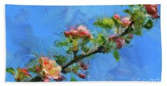 Flowering Apple Branch Beach Sheet by Dragica Micki Fortuna