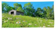 Flowering Hillside Meadow - View 2 Beach Towel
