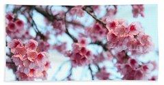 Beach Towel featuring the photograph flowering of the almond tree, Jerusalem by Yoel Koskas