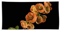 Beach Towel featuring the photograph Flowering Quince Orange by Mary Jo Allen