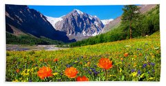 Flowering Valley. Mountain Karatash Beach Towel