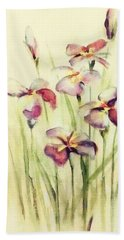 Beach Towel featuring the painting Flowers by Allen Beilschmidt