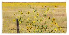 Flowers And Fence Beach Towel