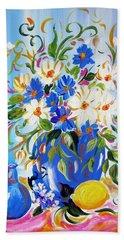 Flowers And Lemon Beach Towel