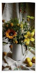 Flowers And Lemons Beach Sheet