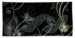 Flowers And Rain Beach Towel