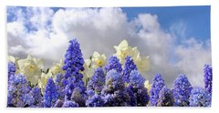 Flowers And Sky Beach Towel