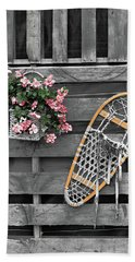 Flowers And Snowshoe Beach Towel