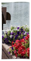 Flowers And Water Beach Towel