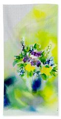 Flowers At Home Beach Sheet by Frank Bright