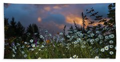 Flowers At Sunset Beach Towel