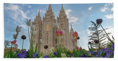 Flowers At Temple Square Beach Towel