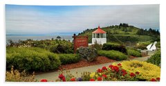 Beach Towel featuring the photograph Flowers At The Trinidad Lighthouse by James Eddy