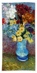 Beach Towel featuring the painting Flowers In A Blue Vase  by Van Gogh