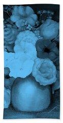 Flowers In Blue Beach Towel