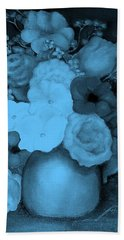 Flowers In Blue Beach Towel