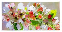 Flowers In Glass Bowl Beach Towel