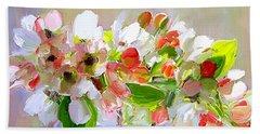 Flowers In Glass Bowl Beach Towel
