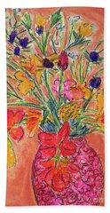 Flowers In Red Vase Beach Sheet